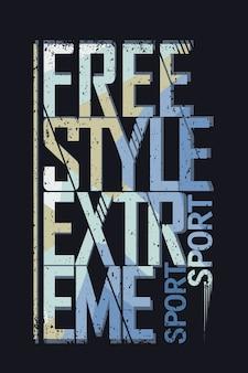 Typografia sportów ekstremalnych w stylu dowolnym