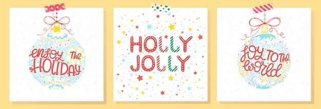 Typografia świąt i nowego roku. zestaw kart świątecznych z życzeniami, bombkami, płatkami śniegu i gwiazdami. pory roku pozdrowienia idealne do wydruków, ulotek, kart, zaproszeń. ilustracje wektorowe wakacje.