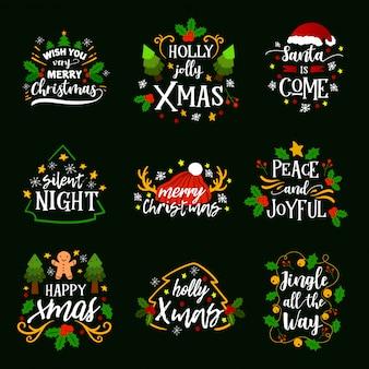 Typografia świąteczna z elementami dekoracyjnymi