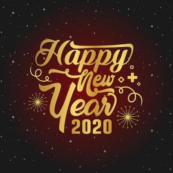 Typografia szczęśliwego nowego roku 2020