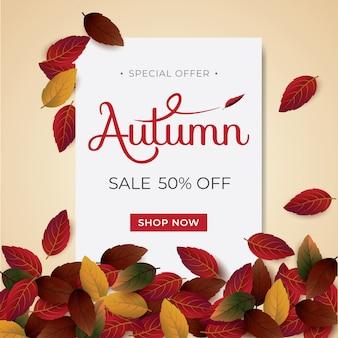 Typografia układu autumnsale ozdobiona liśćmi