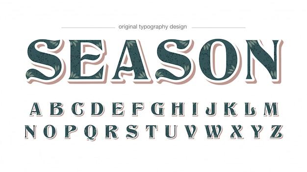 Typografia vintage wzór liścia