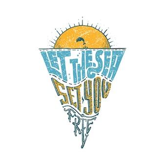 Typografia wakacje natura plaża graficzny ilustracja projekt tshirt