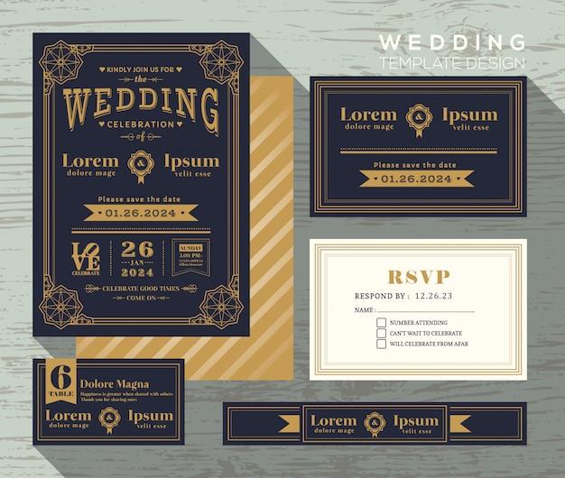 Typografia wesele zaproszenie rama zestaw szablonu