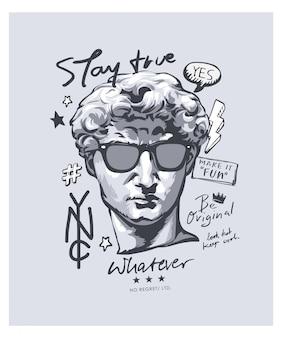 Typografia z antykami statua w okularach przeciwsłonecznych ilustracyjnych