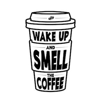 """Typografia z literami """"obudź się i poczuj zapach kawy"""""""
