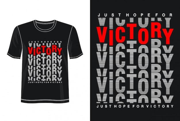 Typografia zwycięstwa na koszulce z nadrukiem