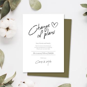 Typograficzne przełożone karty ślubne
