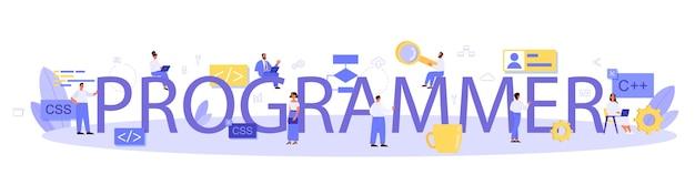 Typograficzne sformułowania i ilustracje programisty.