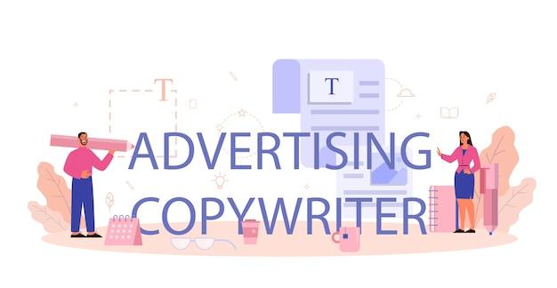 Typograficzne sformułowanie i ilustracje copywritera reklamowego.