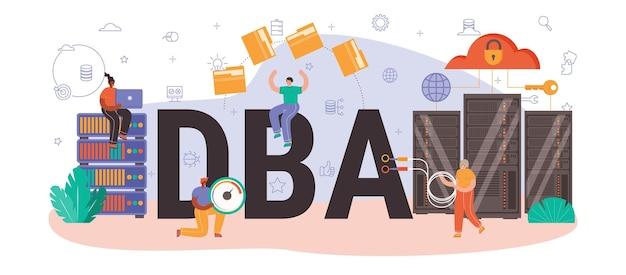 Typograficzny nagłówek administratora bazy danych. menedżer pracujący w centrum danych. ochrona danych, tworzenie kopii zapasowych i przywracanie. nowoczesna technika komputerowa, zawód informatyka. płaska ilustracja wektorowa