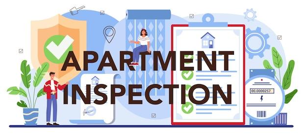 Typograficzny nagłówek inspekcji mieszkania. wykwalifikowany agent nieruchomości