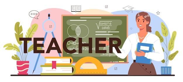 Typograficzny nagłówek nauczyciela. profesor udzielający lekcji w klasie