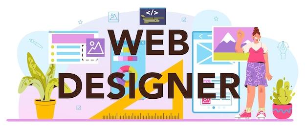 Typograficzny nagłówek projektanta stron internetowych. projektowanie i tworzenie interfejsu i prezentacji treści. układ strony, kompozycja i opracowanie kolorystyczne. płaska ilustracja wektorowa