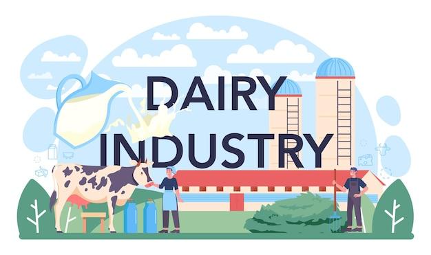 Typograficzny nagłówek przemysłu mleczarskiego. naturalny produkt mleczny na śniadanie. dojenie krów, pasteryzacja nabiału, fermentacja i mleko, ser, produkcja masła. płaska ilustracja wektorowa