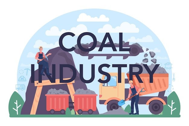 Typograficzny nagłówek przemysłu węglowego. wydobycie surowców mineralnych i naturalnych. górnicze i przemysłowe poszukiwania surowego węgla. nowoczesna technologia wytwarzania energii. ilustracja wektorowa