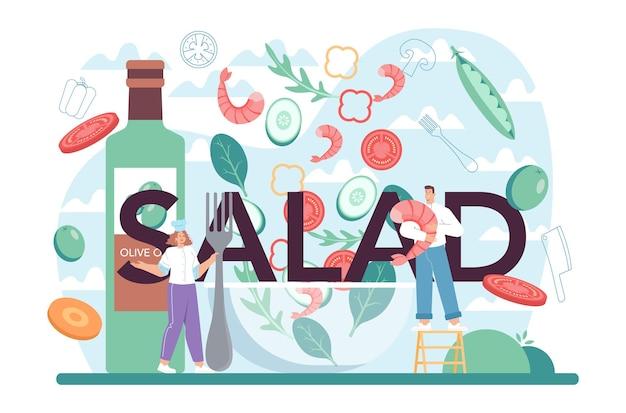 Typograficzny nagłówek sałatkowy ludzie gotujący świeże organiczne i zdrowe