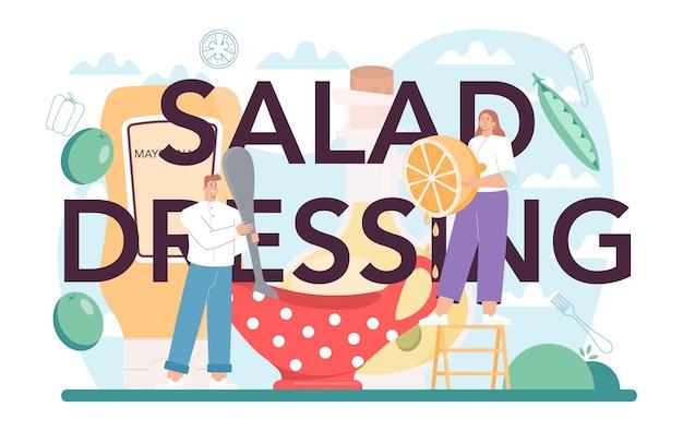 Typograficzny nagłówek sosu sałatkowego. ludzie gotują świeżą żywność ekologiczną i zdrową. sałatka warzywno-owocowa w misce. ilustracja na białym tle płaski wektor