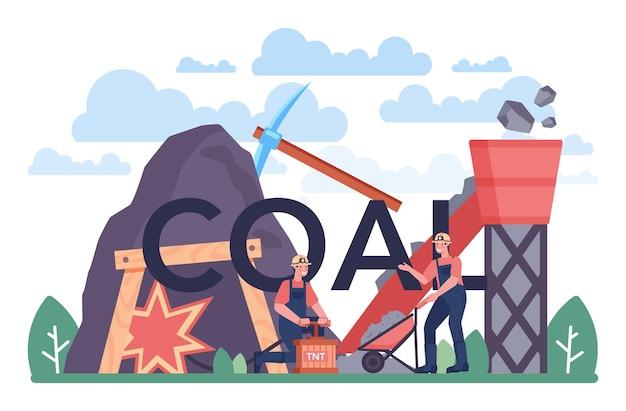 Typograficzny nagłówek węgla. wydobycie surowców mineralnych i naturalnych. górnicze i przemysłowe poszukiwania surowego węgla. nowoczesna technologia wytwarzania energii. ilustracja wektorowa