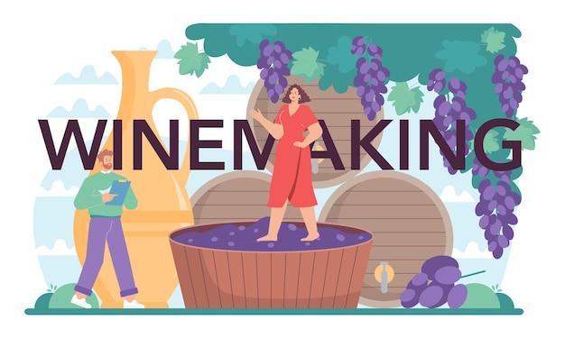 Typograficzny nagłówek winiarski. wino gronowe w drewnianej beczce, butelka czerwonego wina. opracowanie receptury, ekspozycja i próbkowanie, selekcja winogron. płaska ilustracja wektorowa