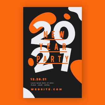 Typograficzny plakat imprezowy nowy rok 2021