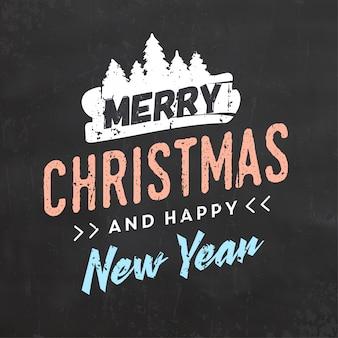 Typograficzny świąteczny projekt / wesołych świąt i szczęśliwego nowego roku