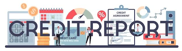 Typograficzny tekst raportu kredytowego z ilustracją.