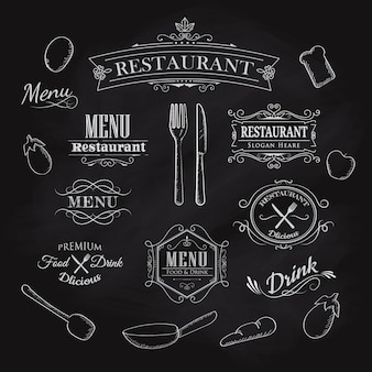 Typographical element dla menu restauraci blackboard rocznika han