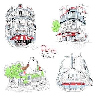 Typowe paryskie domy, francja