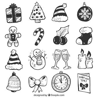 Typowe świąteczne ręcznie rysowane elementy