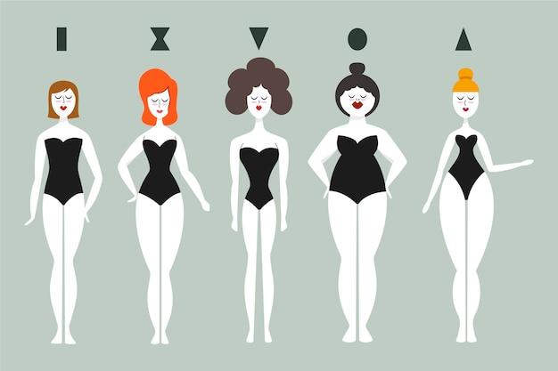 Typy kreskówek kolekcji kształtów kobiecego ciała