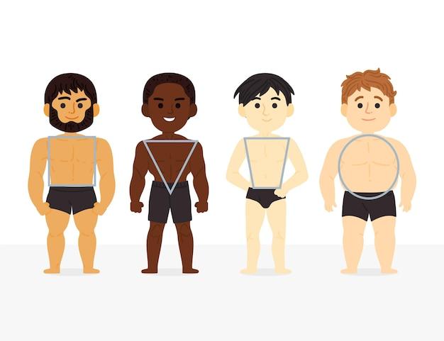 Typy kreskówek męskich kształtów ciała