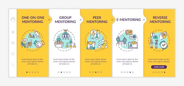 Typy mentoringu onboarding szablon wektor