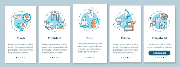 Typy modeli ról wprowadzające ekran strony aplikacji mobilnej z koncepcjami. przywództwo w zakresie poradnictwa dla studentów. 5 kroków instrukcji graficznych. szablon ui z kolorowymi ilustracjami rgb