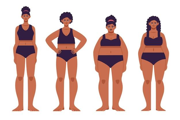 Typy płaskich ilustracji kobiecych kształtów ciała