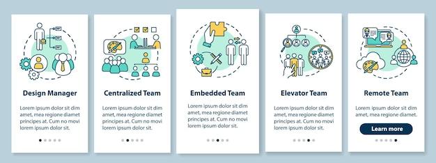 Typy pracy zespołowej na ekranie strony aplikacji mobilnej wraz z koncepcjami. wspólna praca nad projektem przewodnik po 5 krokach instrukcje graficzne. szablon wektorowy interfejsu użytkownika z kolorowymi ilustracjami rgb