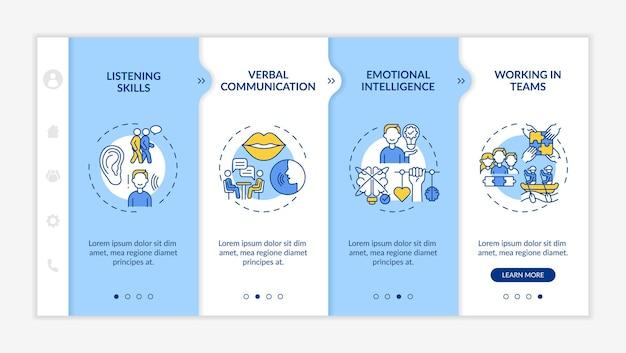Typy samooceny umiejętności interpersonalnych szablon wektora onboardingowego. responsywna strona mobilna z ikonami. przewodnik po stronie internetowej 4 ekrany kroków. koncepcja koloru sukcesu z liniowymi ilustracjami