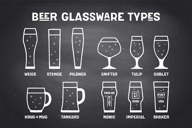 Typy szklanych kufli piwa plakatowego
