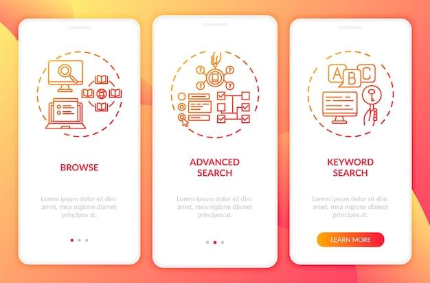 Typy wyszukiwania w bibliotece online wprowadzające ekran strony aplikacji mobilnej z koncepcjami. wyszukiwanie według tematu 3 kroki. szablon ui z kolorowymi ilustracjami rgb