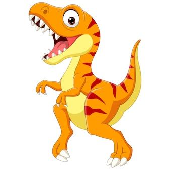 Tyranozaur kreskówka na białym tle