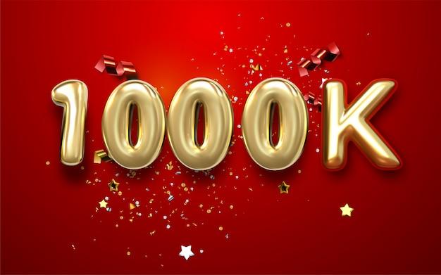 Tysiąc. dziękuję obserwującym. 3d ilustracja dla blogu lub poczta projekta. 1000k złoty znak z konfetti na czerwonym tle.