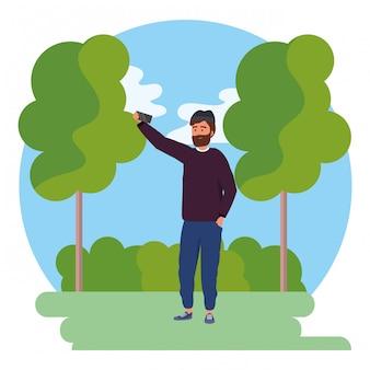Tysiąclecia młody człowiek smartphone selfie okrągłe ramki