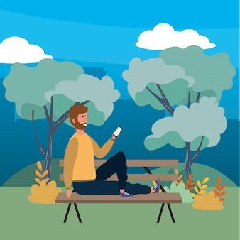 Tysiącletnia osoba siedzi na ławce w parku