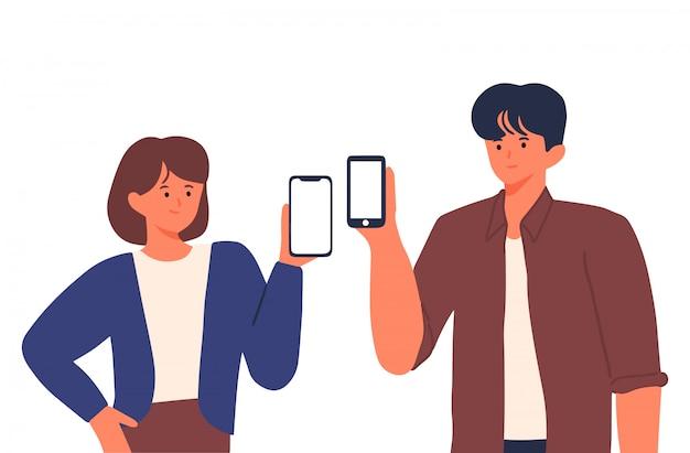 Tysiącletnie kobiety i mężczyźni pokazują pusty smartfon