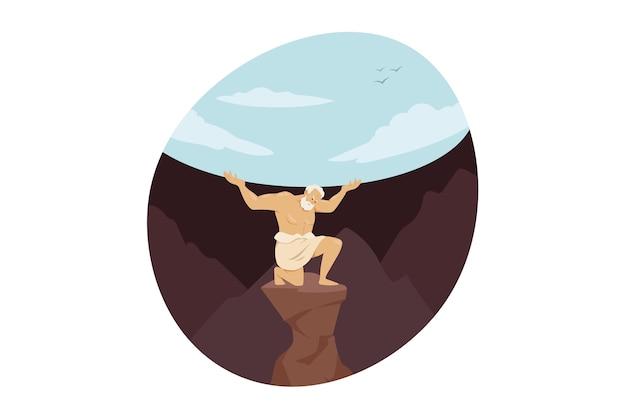 Tytan olbrzymi olimpijski bóg atlas skazany za trzymanie niebiańskiego nieba na wieczność po titanomachii.