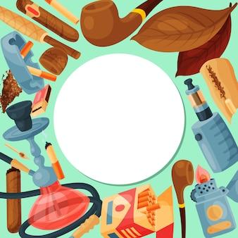 Tytoń, cygaro i fajka wodna. zestaw fajki wodnej, liści cygar i papierosów, fajek i zapałek jest dookoła białego koła z miejscem na tekst. kolekcja akcesoriów dla palaczy