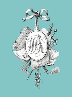 Tytuł winiety z monogramem WPK
