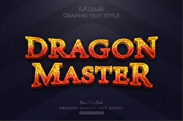 Tytuł gry fire rpg edytowalny styl czcionki premium text effect