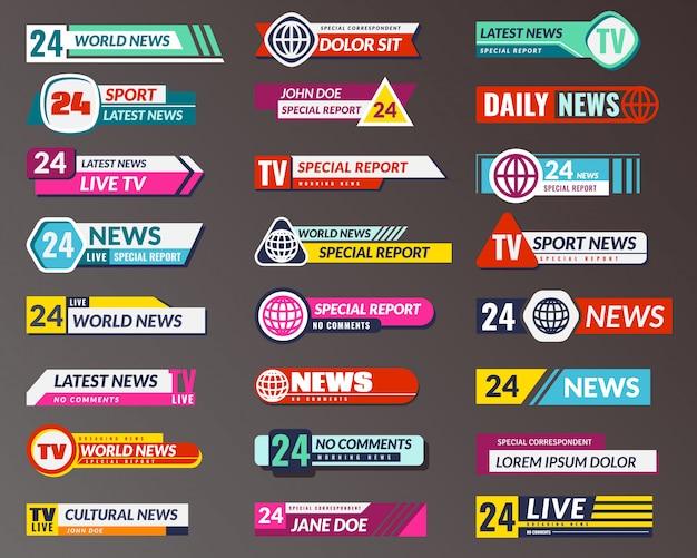 Tytuł tv. nadawanie interfejsów graficznych banerów, dolny pasek transmisji telewizyjnej. na białym tle wektor nagłówka ekranu wiadomości breaking, fałszywe i sportowe