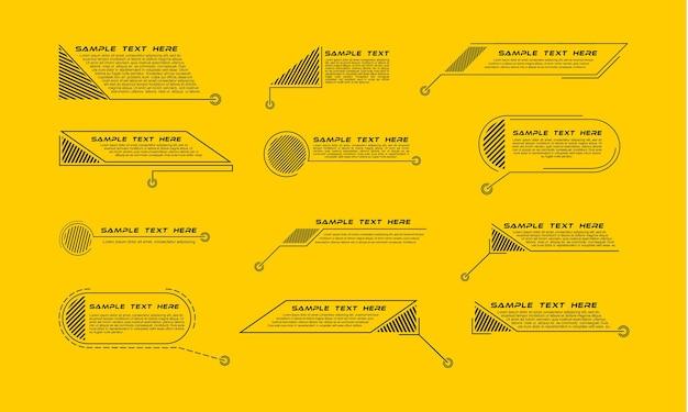 Tytuły objaśnień cyfrowych. zestaw szablonu banera technologii hud.